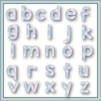 Clip Art letters-January Icy Blue Alphabet Winter 67 letters and numbers
