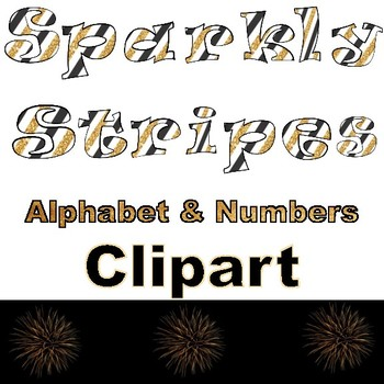 Clip Art letters-New Years Sparkly Stripes Alphabet Clip art- Gold Glitter