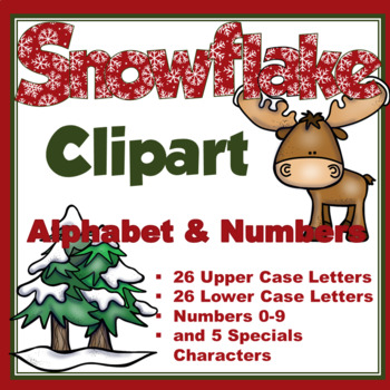 Clip Art letters- Red with white snowflakes Winter 67 letters and numbers