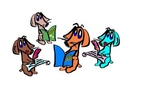 Clip Art of Dogs (Dachshunds) Reading and Writing (Solid Colors)