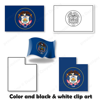 Clip Art of Utah State Symbols and Map Clipart