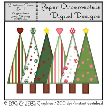 Clip Art or Clipart: Christmas Trees Set 1