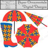 Clip Art or Clipart: Rainbow Colors Rain Boot & Umbrella Set 1