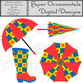 Clip Art or Clipart: Rainbow Colors Rain Boot & Umbrella Set 2