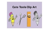 Clip Art pencil, scissors, ruler with cute faces