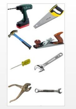 Clip Art: photographs of tools, transparencies