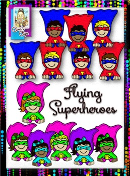 Clip Art~Flying Superhero Kids