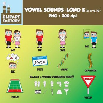 Clip Art:Vowel Sounds Long E(e,e-e,ie)-Images for words w/ long e sound e,e-e,ie