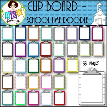 Clip Board - School Time Doodle {Graphics for Commercial Use}
