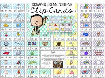 Clip Card Bundle {beginning, middle, ending sounds, CVC, blends & digraphs}