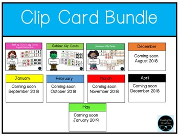 Clip Card Math and Literacy **Growing Bundle*** for each month of the year