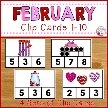 Clip Cards 1-10 Valentine's Day