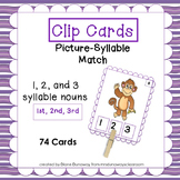Clip Cards: 1, 2 & 3 Syllable Picture Match (1st, 2nd, 3rd)