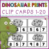 Clip Cards 1-20 Dinosaur Prints Counting