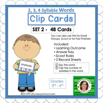 Clip Cards: 2, 3, & 4 Syllable Words (Set 2)