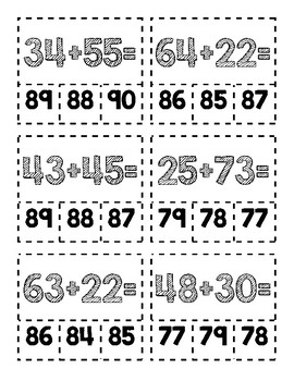 Clip Cards-2 Digit Addition Subtraction
