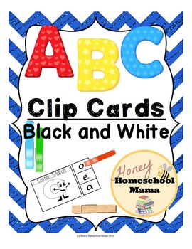 Clip Cards - ABC Alphabet Clip Cards in Black and White - 416 Cards