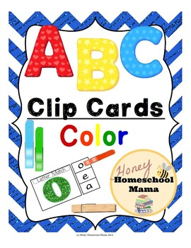 Clip Cards - ABC Alphabet Clip Cards in Cool Colors - 416 Cards