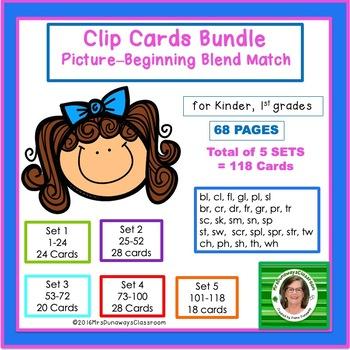Clip Cards: Beginning Blends & Digraphs (BUNDLE)