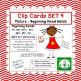 Clip Cards: Beginning Blends & Digraphs (Set 4)