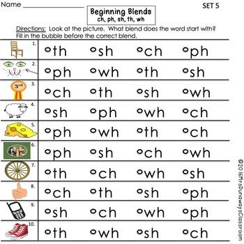Clip Cards: Beginning Blends & Digraphs (Set 5)