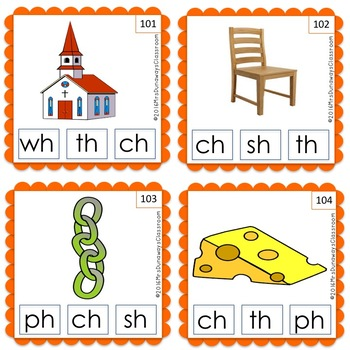 Clip Cards: Beginning Blends & Digraphs (Set 5)