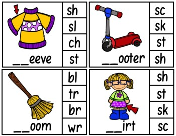 Clip Cards (Blends/Diagraphs Beginning Sounds)