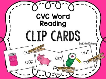 Clip Cards: CVC Word Reading and Distinguishing