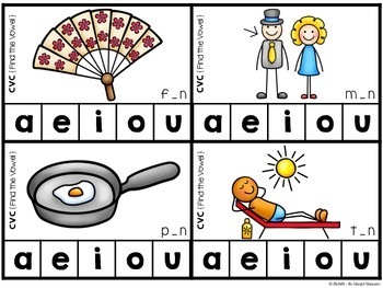 Clip Cards {CVC Words: Find the Vowel Sound}