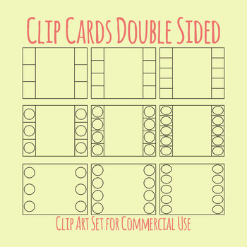 Clip Cards / Clip It Card Double Template Clip Art Set for Commercial Use