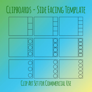 Clip Cards / Clip It Card Sideways Template Clip Art Set for Commercial Use