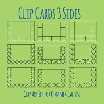 Clip Cards / Clip It Card Three Sides Template Clip Art Set for Commercial Use