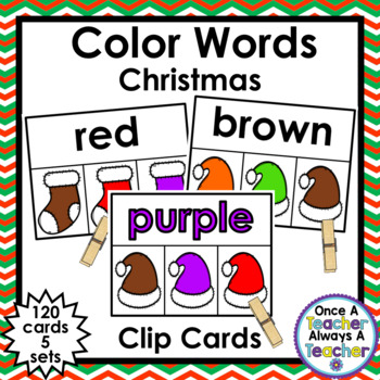 Clip Cards  •  Color Words •  Christmas