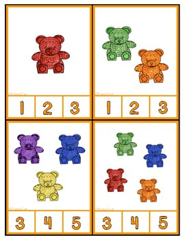Counting Bears 1 20 Clip Cards By Sharon Oliver Tpt