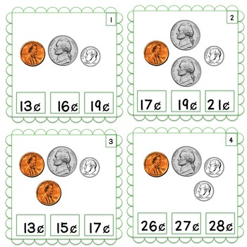 Clip Cards:  Counting Coins kinder/1st