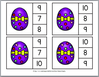 Easter - Spring Math Activities - Clip Cards – Counting  - 4 Sets