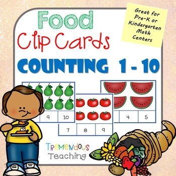 Clip Cards Counting Numbers to Ten - Food Pictures