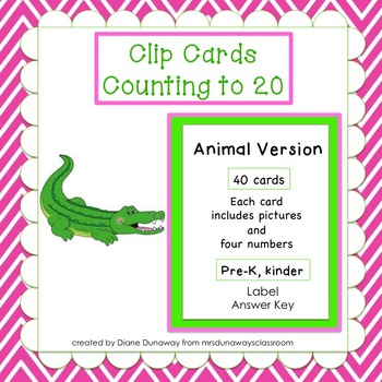 Clip Cards: Counting to 20 (animal version)