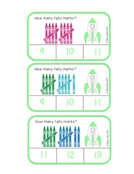 Crayon Tally Marks 1-30 - Clip Cards for Independent Practice