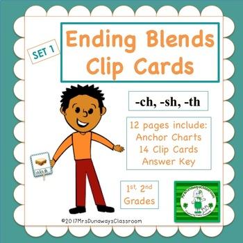 Clip Cards: Ending Blends (Set 1)