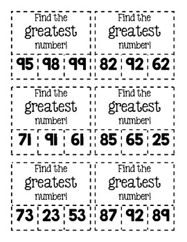 Clip Cards-Find the Greatest/Least Number