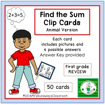Clip Cards: Find the Sum (animal edition)