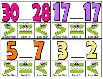 Clip Cards (Greater Than, Less Than, Equal To) Numbers to 30