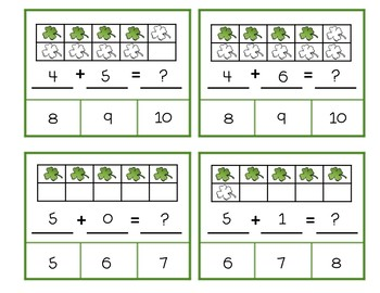 Clip Cards Kindergarten Math St Patrick's Day - Ten Frames Addition