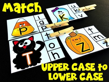 Clip Cards: Letter Matching-Halloween Edition