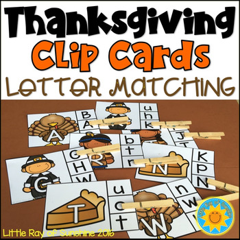 Clip Cards: Letter Matching-Thanksgiving Edition