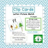 Clip Cards:  Letter - Picture Matching (kinder/1st)