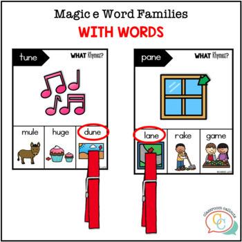 Clip Cards - Magic e Rhyming Words