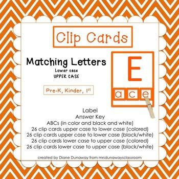Clip Cards:  Matching Letters (pre-K/kinder/1st)
