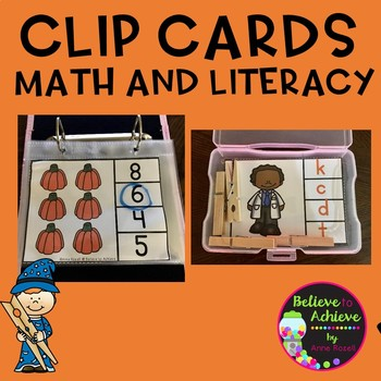 Clip Cards Math and Literacy- K and 1st (October theme)